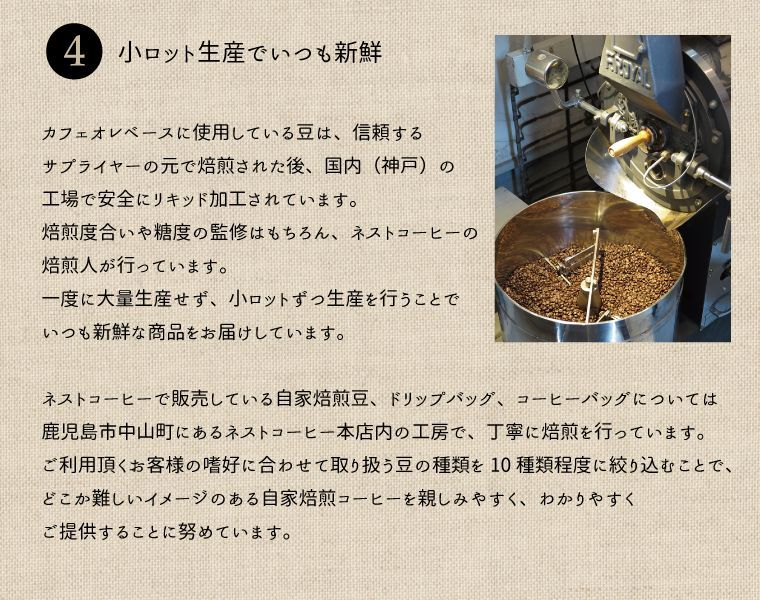 カフェオレベースに使用している豆は、信頼するサプライヤーの元で焙煎された後、神戸の工場で安全にリキッド加工されています。焙煎度合や糖度の監修はもちろん、ネストコーヒーの焙煎人が行っています。一度に大量生産せず。小ロットずつ製造することで、いつも新鮮な商品をお届けしています。ネストコーヒーで販売している自家焙煎豆、ドリップバッグ、コーヒーバッグについては、鹿児島市中山町にあるネストコーヒー本店内の工房で丁寧に焙煎を行っています。ご利用いただくお客様の嗜好に合わせて取り扱う豆の種類を10種類程度に絞り込むことで、どこか難しいイメージのある自家焙煎コーヒーを親しみやすく、わかりやすくご提供することに努めています。